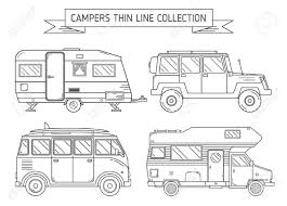 100 Rv Trucks RV Travel Concept Set Camping Trailer Family Caravan Line Art