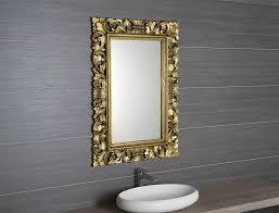 badspiegel spiegel wandspiegel holzrahmen handgeschnitzt 80x120 cm altgold