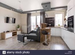 funktionale und moderne wohnzimmer mit küche kombiniert