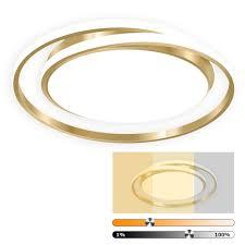 led deckenleuchte ring design dimmbar d 50cm 46w deckenlen wohnzimmer küchen le gold