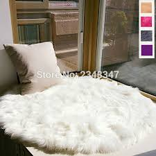 Long Faux Fur Artificial Sheepskin Fluffy Chair Seat Sofa Cover With Carpet Ideas 12
