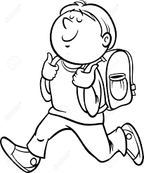 Black And White Cartoon Illustration Primary School Student