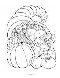 Free Printable Thanksgiving Fruit Basket Coloring Page