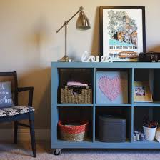 Expedit Ikea bookshelf painted duck egg blue with Annie Sloan