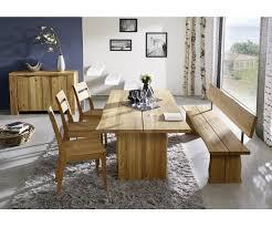 tischgruppe esszimmer oviedo 220 cm wildeiche massiv 3 stühle filippa 1 tisch 1 bankteil
