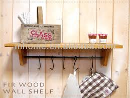 Rustic Wood Wall Shelf With Hooks For Kitchen Deco