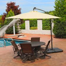 Solar Lighted Patio Umbrella by Sunnydaze Steel 10 Foot Offset Solar Led Patio Umbrella With