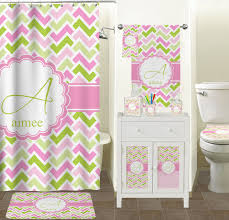 pink green geometric bathroom accessories set personalized