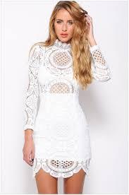 white crochet lace high neck semi sheer long sleeve summer dress