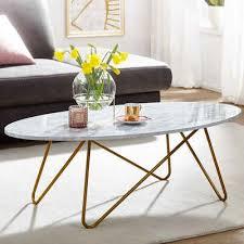 finebuy couchtisch fb65516 120x40x60 cm mit marmor optik weiß wohnzimmertisch mit metall gestell sofatisch oval tisch wohnzimmer loungetisch