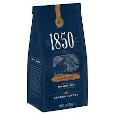 1850 Black Gold Dark Roast Ground Coffee 12 Ounce