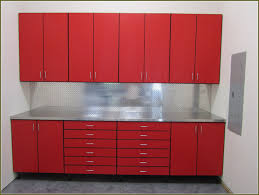 red metal storage cabinet with grey countertop completed by spme