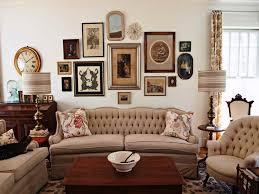 Wall Clock Decorating Ideas Art With Gold Effect Frame Beige Fabric Sofa Seat Cushions Brown Wooden Square Coffe