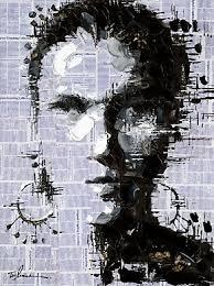 THE FACE ON NEWSPAPER PAINTING CANVAS