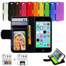 Leather Flip Wallet Case Cover For Apple iPhone SE 5S 5C 5