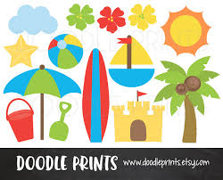 Digital Clip Art Printable Beach Clipart Surf Summer