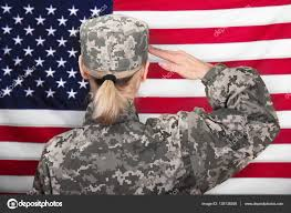 Female Soldier Saluting Stock Photo 138135308