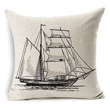 Amazon Decorbox Cotton Linen Pillow Cover Antique Boat