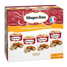 haagen dazs 4 mini pots crème glacée macadamia nut brittle 4x100ml