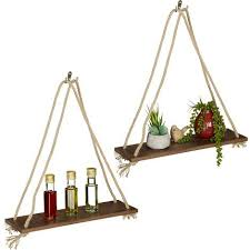 hängeregal holz 2er set seil regal deko pflanzen wohnzimmer küche schweberegal 49 x 43 x 13 cm braun
