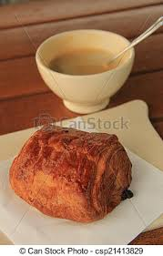 French Breakfast Coffee With A Pain Au Chocolat Stock Photo