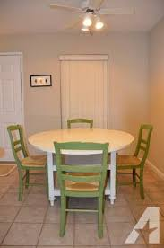 White Round Pottery Barn Drop Leaf Dining Room Table