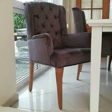 eleganter ohren armlehnen esszimmer stuhl textil samt mit chesterfield steppung ebay