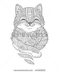 Zentangle Stylized Fat Cat Hand Drawn Fluffy Animal Zen Art For Adult Coloring Page