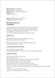 Nursing Resume Canada Recent Graduate Examples New Grad Nurse
