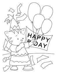 Happy Birthday Coloring Pages Free Printable Download For Kids Animals Balloon Cake Bird Elmo Disney Activity Sheets Boy Girl Crafts 9