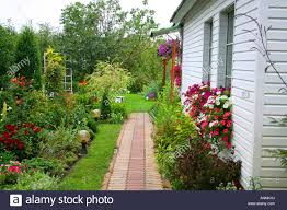 100 Blooming House House Backyard Cousy Countryside Stock Photo
