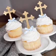 Baptism Decorations For Boys Christening Cross Cupcake
