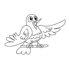 Download Coloring Page Outline Of Funny Singing Bird Stock Vector