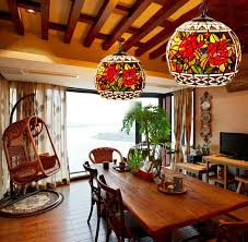 pattern stained glass global kitchen pendant light