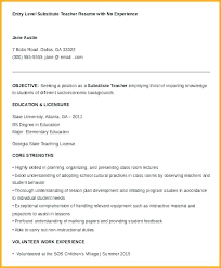 Substitute Teacher Resume Examples Elementary Education Objective Example Res