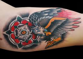 Flower With Old School Eagle Tattoo On Arm