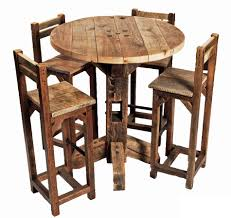 Old Rustic Small High Round Top Kitchen Table And Chair With Legs Back Ideas