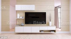 modernen und minimalistischen interieur wohnzimmer weiß tv auf natürlichen holz wand und boden 3d render stockfoto und mehr bilder architektur