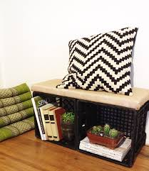DIY Milk Crate Bench Seat With Storage MilkCrateBench 1