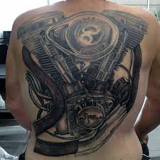 Full Back Harley Davidson Engine Tattoos For Guys