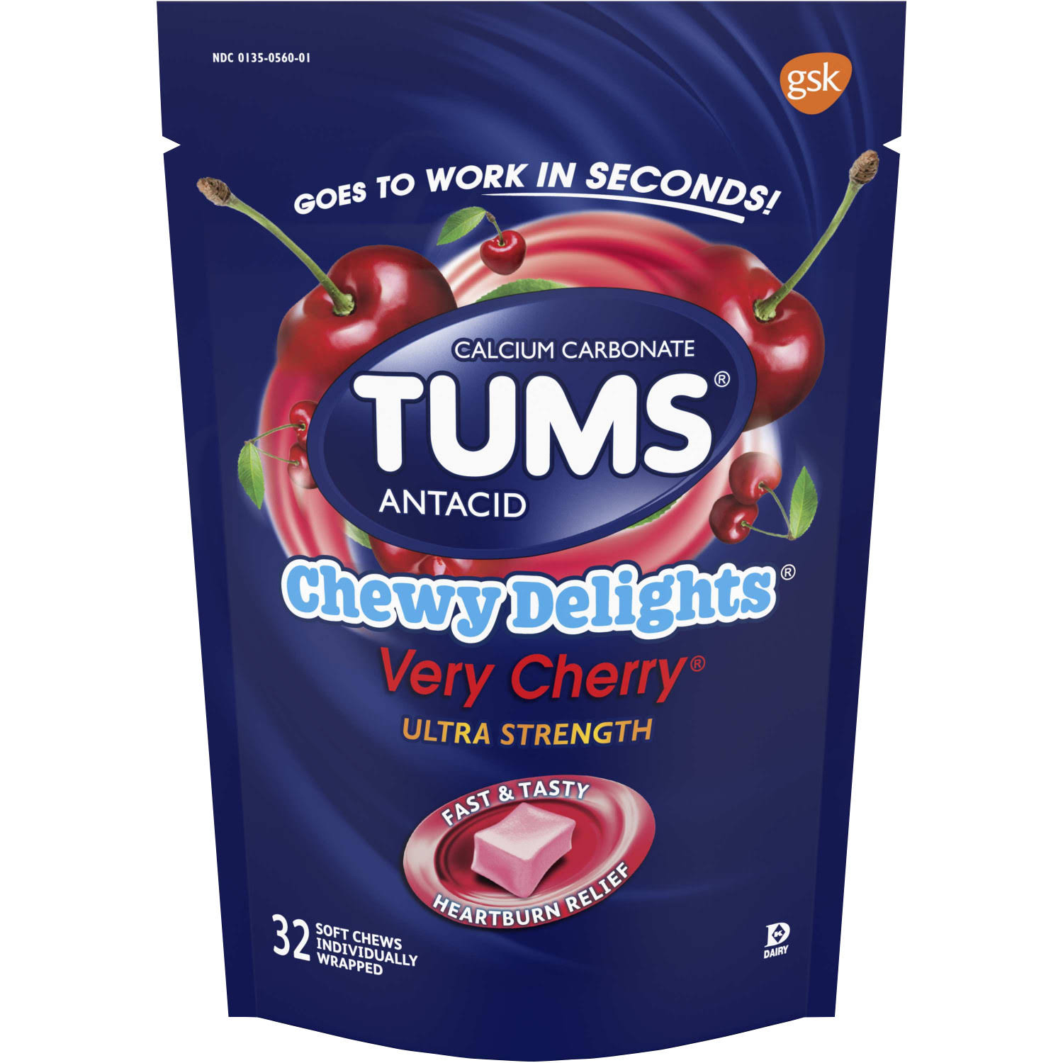 Tums Chewy Delights Antacid, Ultra Strength, Soft Chews, Very Cherry - 32 chews