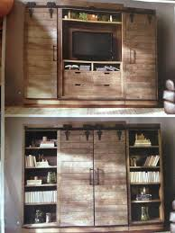 Tv Cabinet With Sliding Barn Style Doors To Hide When Not In Use