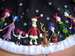 Whoville Christmas Tree by Detail Of The Grinch Tree Skirt I Made Treasury Of Family And