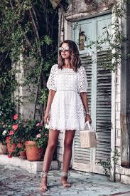 off the shoulder white eyelet mini dress prada basket tote bag