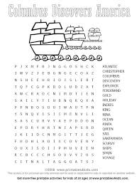 Columbus Day Wordsearch Printables For Kids Free Word Search Puzzles Coloring Pages