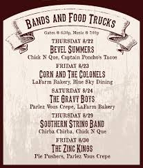 "As You Like It"" Opening Acts & Food Truck Schedule 