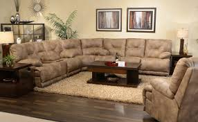Mesmerizing Alluring Brown Leather Sectional Sofa With Recliner And Fancy Wood Coffeetable