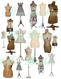 Collage Sheet Of Vintage And Antique Dress Forms Mannequins