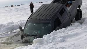 100 Trucks In Snow Pickup Truck Sinks Into Lake Winnebago