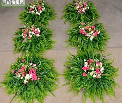 Hessian Rustic Lawn Wedding Flower Road Lead Long Table Centerpieces Plant Decoration Persian Leaf Grass